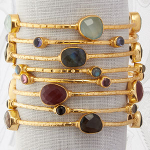 Gold And Semi Precious Stone Bangle - bracelets & bangles