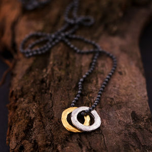 Mens Mixed Metal Eternity Necklace - necklaces