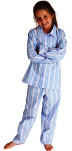 Pale Blue And Pink Egyptian Cotton Pyjamas For Girls