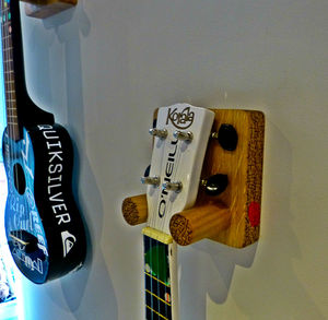 Handmade Solid Oak Wall Mounted Ukulele Bracket - bedroom