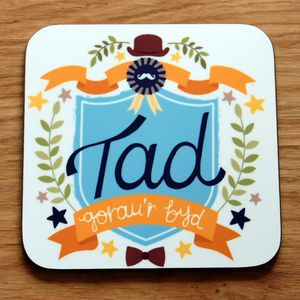 Welsh 'World's Best Dad' Coaster - placemats & coasters