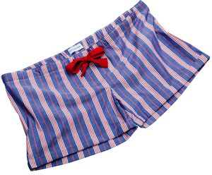 Ladies Blue And Red Stripe Fine Cotton Sleep Shorts