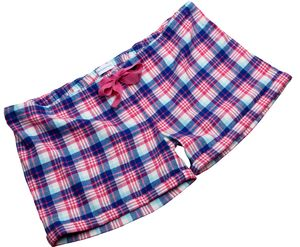 Ladies Pink And Blue Multi Check Sleep Shorts - women's fashion