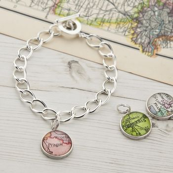 Map Personalised Charm Bracelet