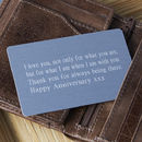Personalised Keepsake Metal Wallet Insert