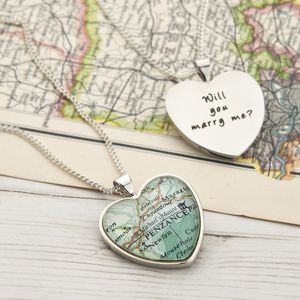 Map Personalised Pendant Necklace Heart - women's jewellery