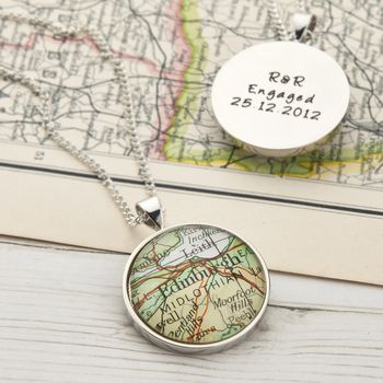 Personalised Circle Map Location Necklace