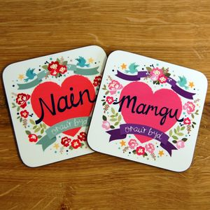 Welsh 'World's Best Grandma' Coaster - placemats & coasters