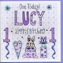 1st Birthday Personalised Girl Card