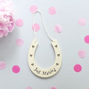 'Just Married' Cream Horseshoe Decoration - outdoor decorations