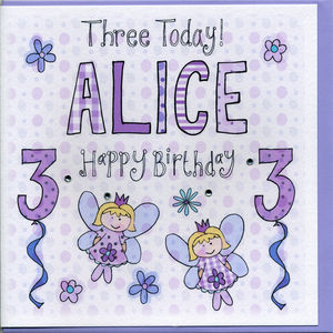 3rd Birthday Personalised Girl Card