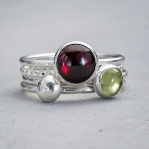 Handmade Envy Peridot And Garnet Silver Stacking Rings - august birthstone