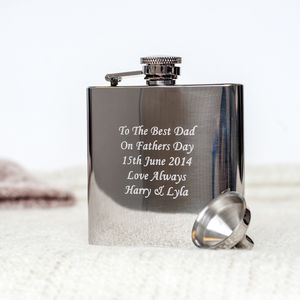 Personalised Stainless Steel Hip Flask With Funnel - gifts from grown-up children