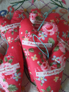 Floral Fabric 'Thank You' Heart - ornaments