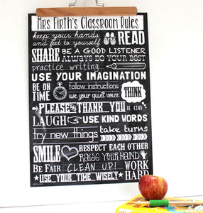 Personalised 'Teacher Classroom Rules' Thank You Gift