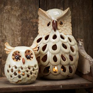 Ceramic Owl Tea Light Holder - summer sale
