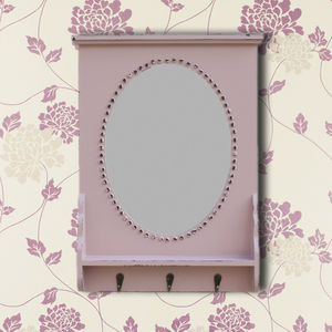 Dusky Rose Pink Wooden Mirror With Hooks - mirrors