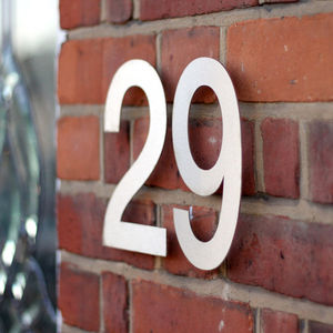 Large Modern Stainless Steel House Numbers - home accessories