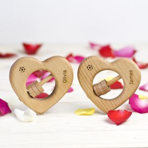 Personalised Wooden Heart Rattle