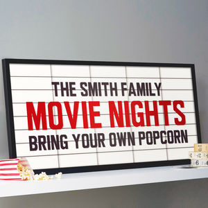 Personalised Cinema Marquee Sign Print