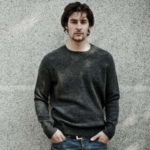Clunie Summer Lambswool Crew In Charcoal - jumpers & cardigans