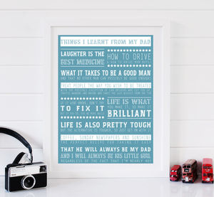 Personalised 'Things I Learnt From My Dad' Print - posters & prints for children