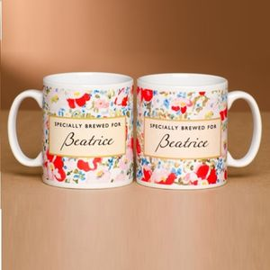 Personalised Specially Brewed For Floral Mug - crockery & chinaware