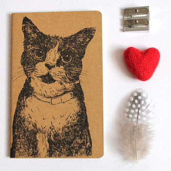 Hand Printed Cat Notebook