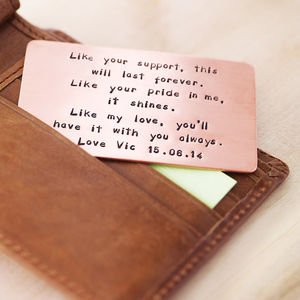 Personalised Copper Or Aluminium Wallet Insert Card - anniversary gifts