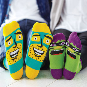 Father's Day Dad And Child Character Sock Set - for dad and me