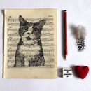 Cat Gocco Print On Vintage Sheet Music