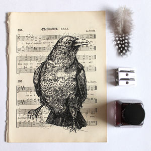 Raven Gocco Print On Vintage Sheet Music - contemporary art