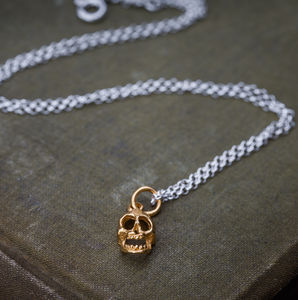 Gold And Silver Skull Necklace