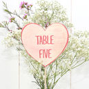 Love Hearts Wedding Table Numbers