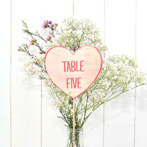 Love Hearts Wedding Table Numbers - signs