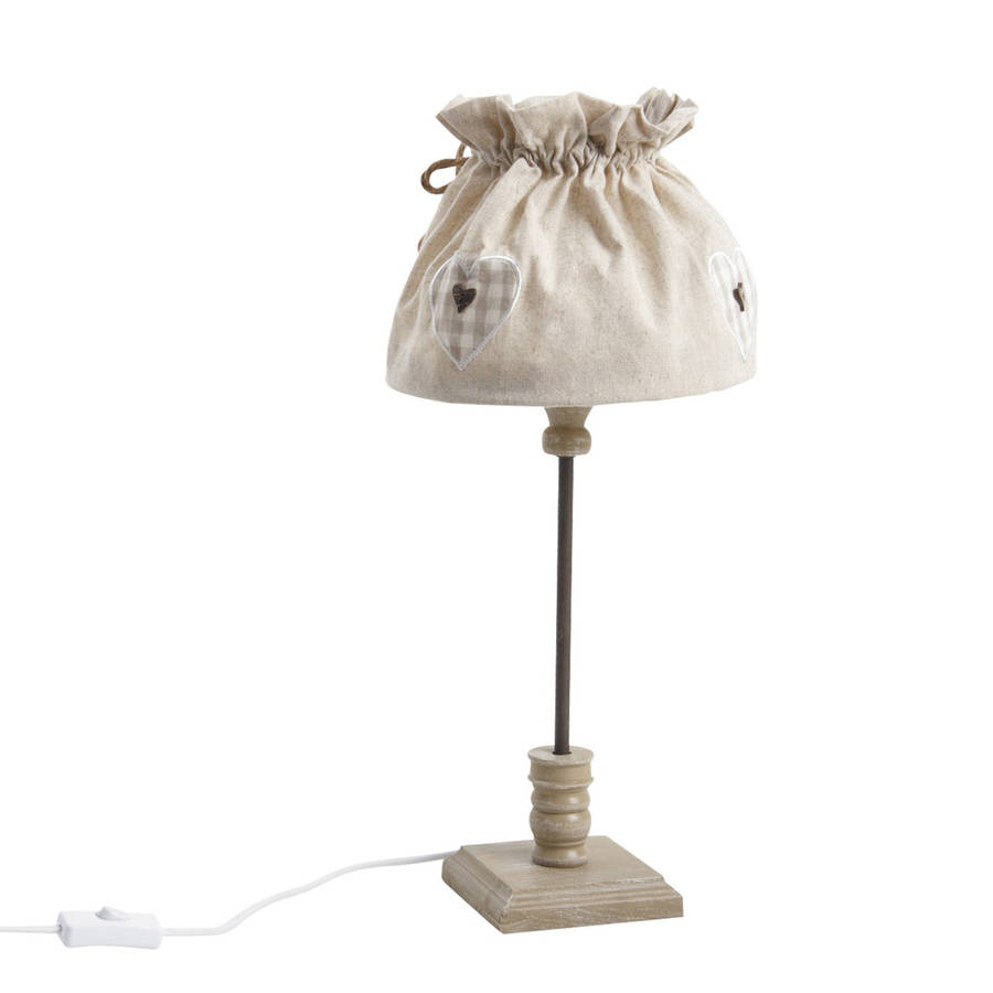 Country Table Lamp With Fabric Shade By Dibor