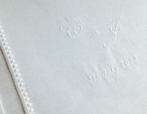 Crisp White Cotton Wedding Album Personalised - albums & guest books