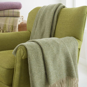 British Wool Herringbone Throw