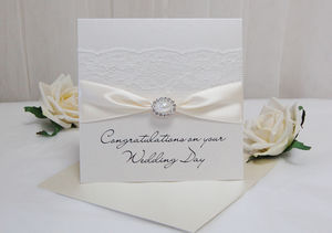 Pearl Vintage Lace Personalised Wedding Card - shop by category