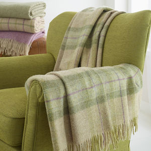 British Wool Green Check Throw - throws, blankets & fabric