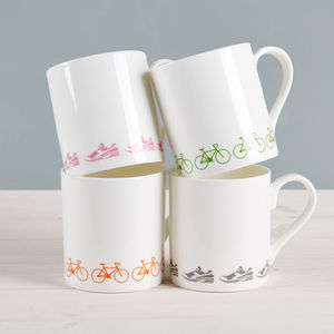 Box Set Of Bike And Trainer China Mugs