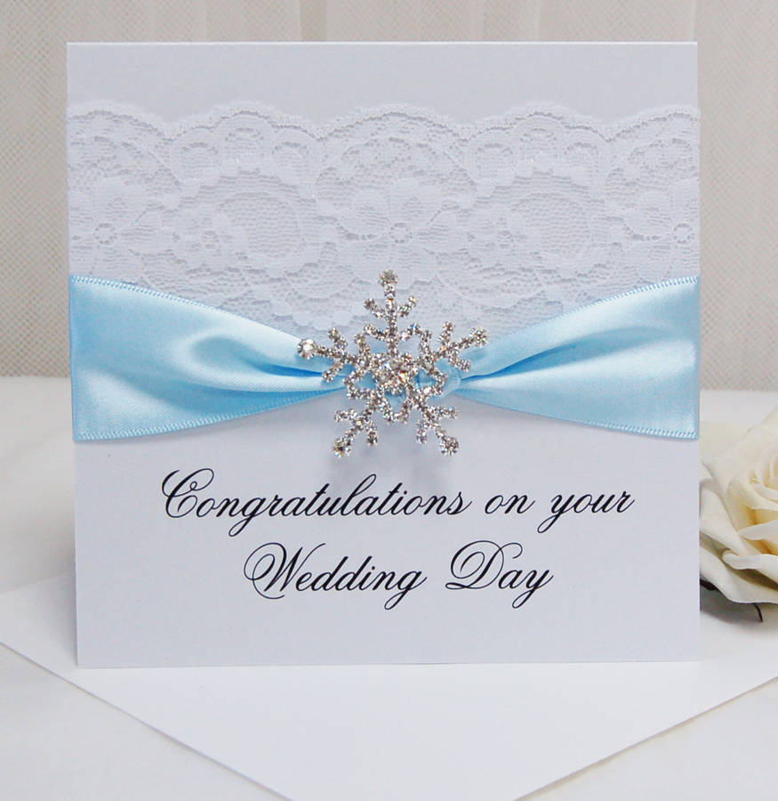 Personalised Snowflake Wedding Congratulations Card By Made With