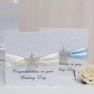Snowflake Winter Wedding Congratulations Card