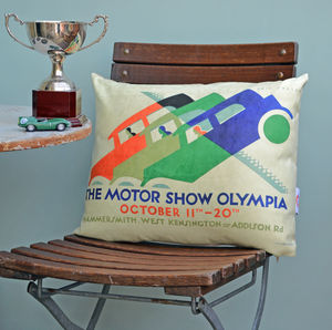 Motor Show Cushion Three Cars - patterned cushions