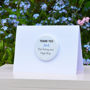 Personalised Thank You 'Page Boy' Card - thank you cards