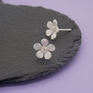 Silver Hibiscus Stud Earrings - earrings