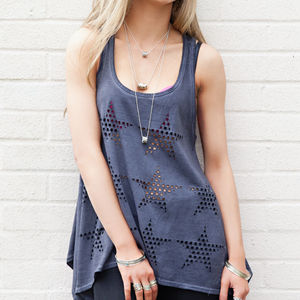 30% Off Laser Cut Star Waterfall Vest Top - tops & t-shirts