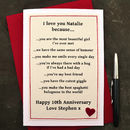 'Love You Because…' Anniversary Card