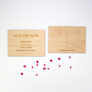 Wedding Save The Date Wooden Postcard Set Of 10