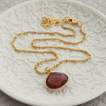 Gold And Tourmaline Drop Necklace
